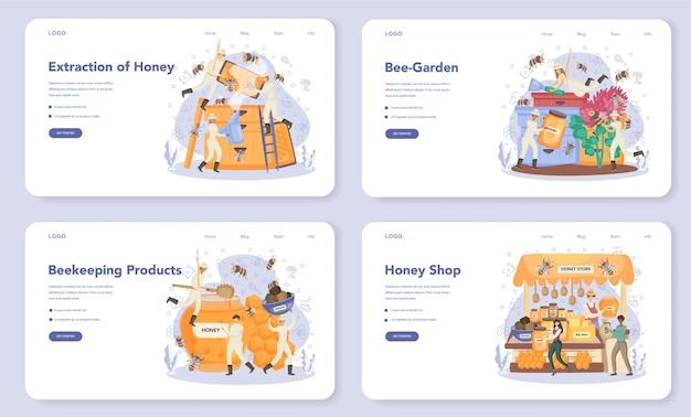 Bannière web ou ensemble de pages de destination d'hiver ou d'apiculteur
