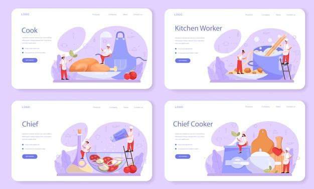 Bannière web ou ensemble de pages de destination pour cuisinier ou spécialiste culinaire.