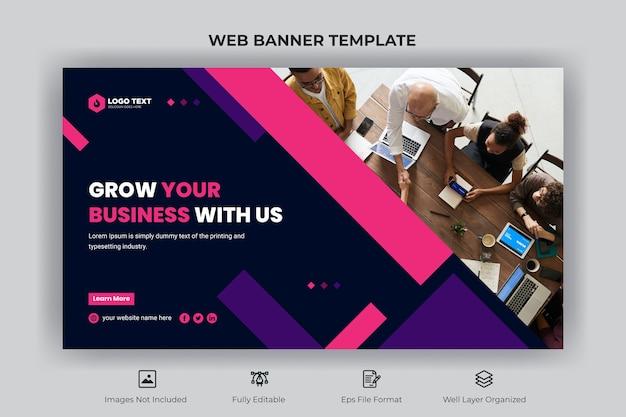 Bannière web d'entreprise créative et modèle de vignette youtube