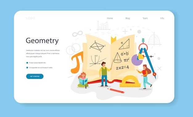 Bannière web de géométrie ou tâche abstraite de page de destination avec calcul mathématique