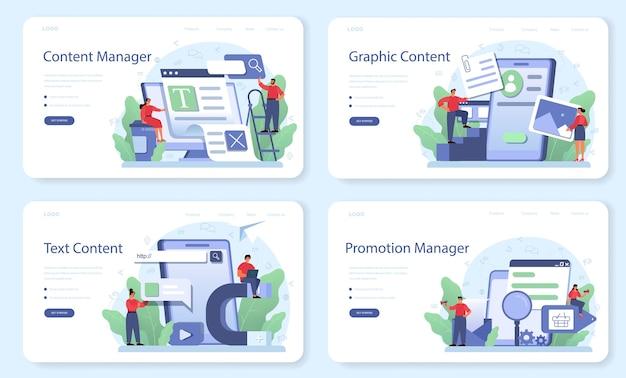 Bannière web de gestion de contenu ou ensemble de pages de destination