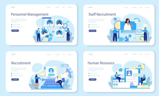 Bannière web de gestion du personnel ou ensemble de pages de destination