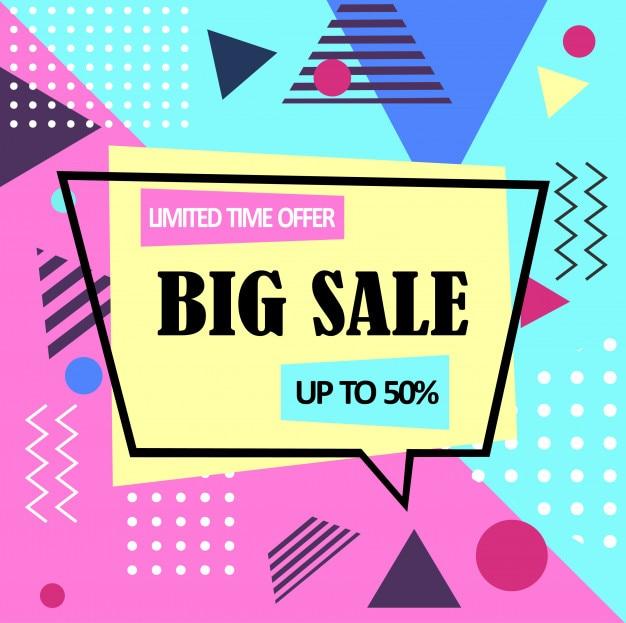 Bannière web de grande vente abstraite memphis style.