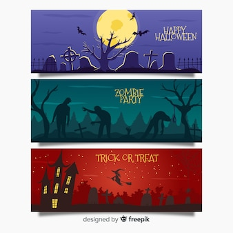 Bannière web halloween effrayant