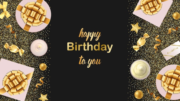 Bannière web happy birthday to you avec modèle d'articles festifs en or pour les cartes d'anniversaire de voeux