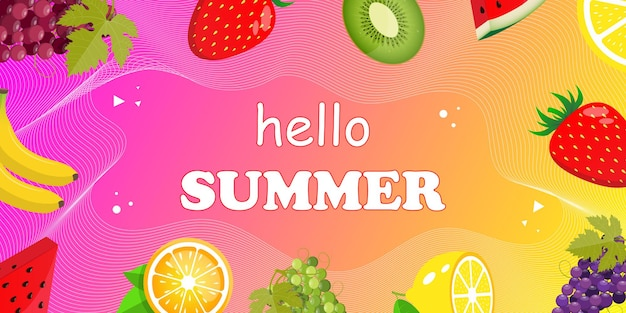 Bannière web hello summer vue de dessus sur la composition estivale avec des fruits tropicaux réalistes