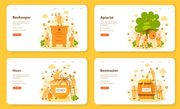 Bannière web d'hiver ou d'apiculteur ou ensemble de pages de destination. agriculteur professionnel avec ruche et miel. produit bio de campagne. ouvrier rucher, apiculture et production de miel.