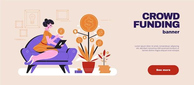 Bannière web horizontale plate de crowdfunding avec femme sur canapé avec ordinateur portable à côté de l'illustration de l'arbre d'argent