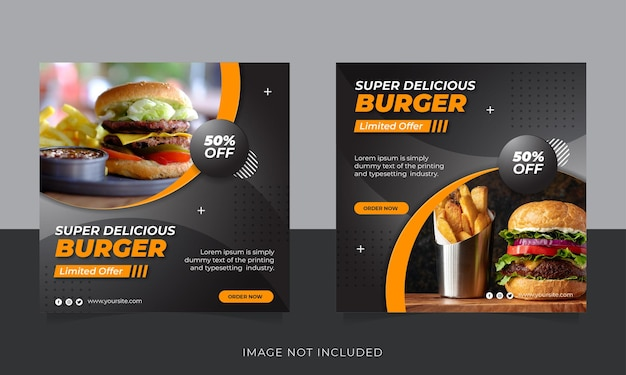 Bannière web horizontale de promotion des aliments de restaurant