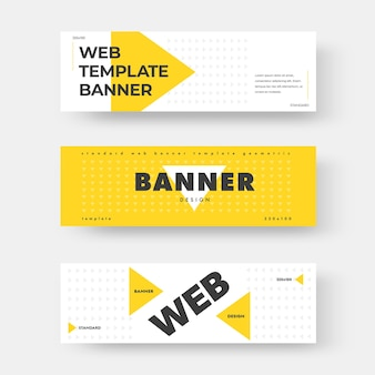Bannière web horizontale de vecteur blanc avec triangle jaune. mise en page avec motif abstrait. modèle de conception rectangulaire avec texte noir pour la publicité.