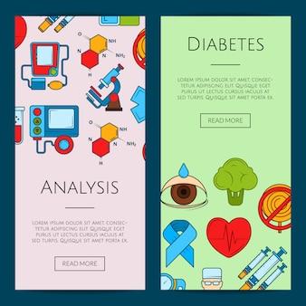 Bannière web d'icônes de diabète de couleur