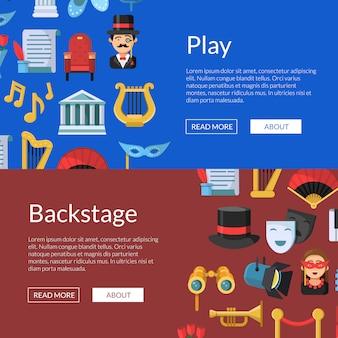 Bannière web icônes de théâtre plat