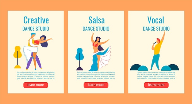 Bannière web instagram histoires personnages de dessins animés pour la danse, chanter studio