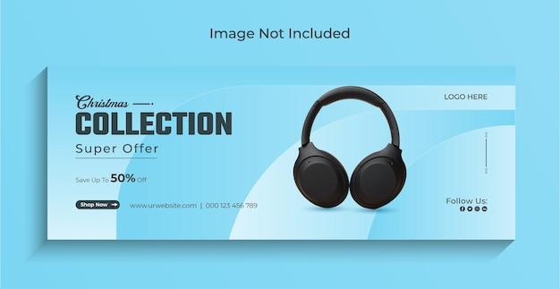 Bannière web instagram de vente de gadgets de noël sur les médias sociaux ou modèle de couverture facebook vecteur premium