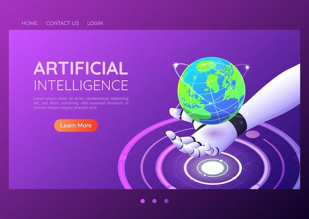 Bannière web isométrique 3d ai main robotique tenant un monde numérique virtuel. concept de page de destination de l'intelligence artificielle et de la technologie.