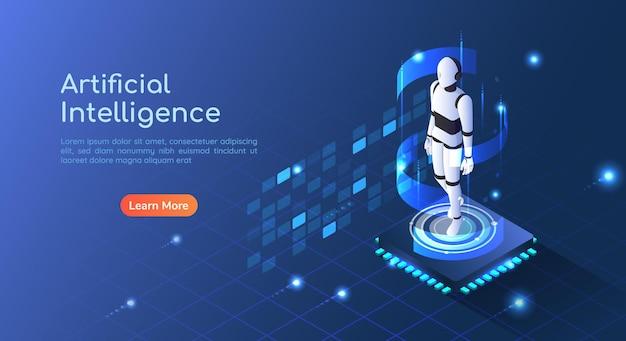 Bannière web isométrique 3d robot ai flottant sur la carte de circuit imprimé de la puce informatique. page de destination du concept d'intelligence artificielle et d'apprentissage automatique.