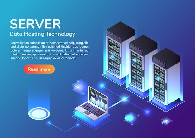 Bannière web isométrique 3d salle des serveurs et technologie de stockage d'hébergement. serveur d'hébergement web et concept de page de destination du centre de données.
