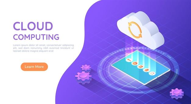 Bannière web isométrique 3d tablet pc téléchargement de fichier vers le cloud. concept de technologie informatique en nuage.