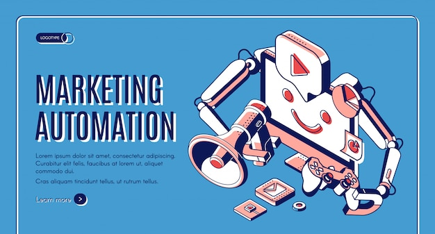 Bannière web isométrique d'automatisation du marketing.