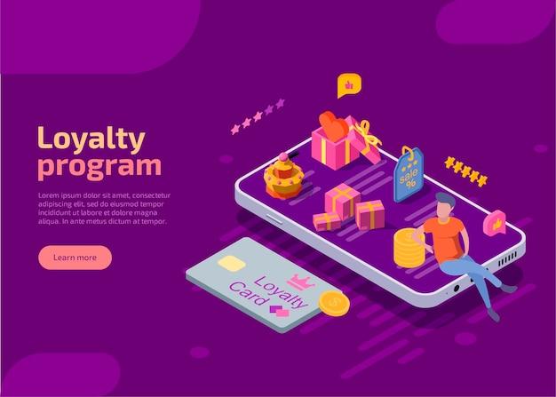 Bannière web isométrique du programme de récompense ou de fidélité