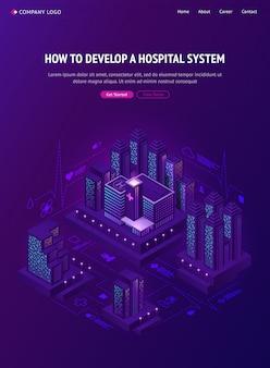 Bannière web isométrique du système hospitalier de la ville intelligente