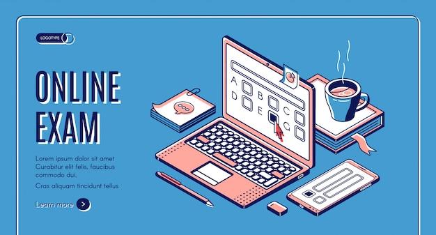 Bannière web isométrique d'examen en ligne
