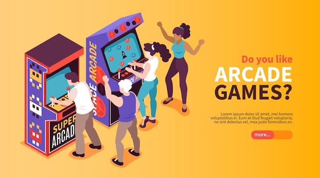 Bannière web isométrique horizontale de divertissement en ligne de machines de jeux d'arcade d'amusement rétro avec des gens qui jouent
