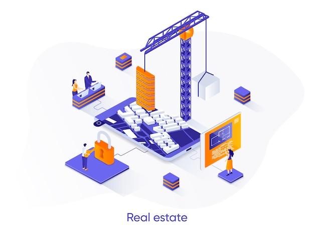 Bannière web isométrique immobilier.