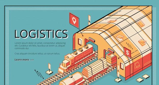 Bannière web isométrique de logistique de production industrielle.