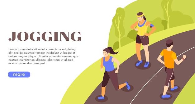 Bannière web isométrique de promotion de mode de vie actif en plein air de jogging avec des gens de route rurale