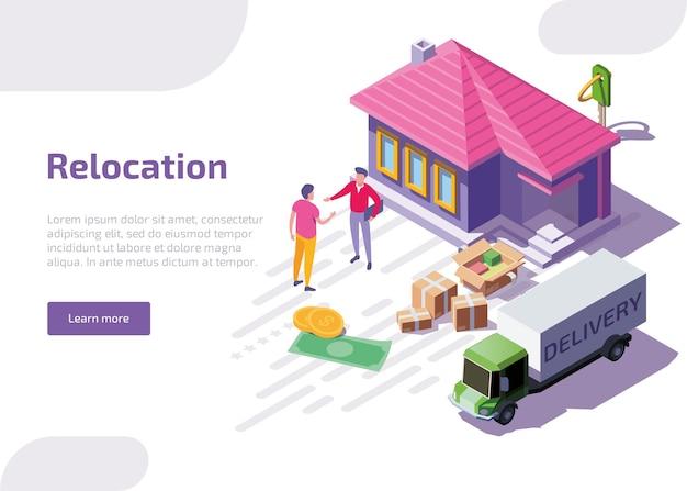 Bannière web isométrique de relocalisation ou page de destination.