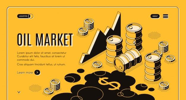Bannière web isométrique de société de négoce de pétrole et de pétrole