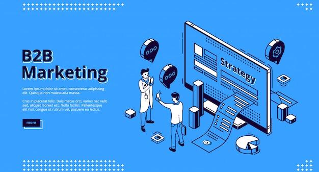Bannière web isométrique de stratégie marketing b2b