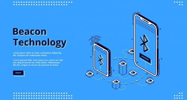 Bannière web isométrique de la technologie sans fil beacon