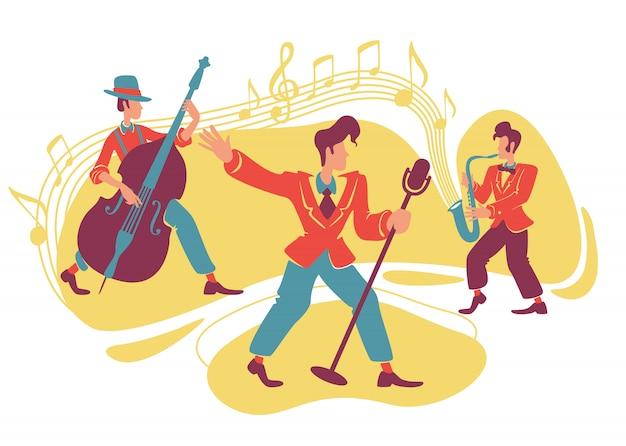 Bannière web de jazz swing show, affiche.