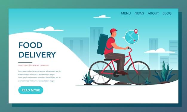 Bannière web de livraison de nourriture. concept de livraison en ligne. commandez sur internet et attendez le courrier. page de destination de la livraison de nourriture.