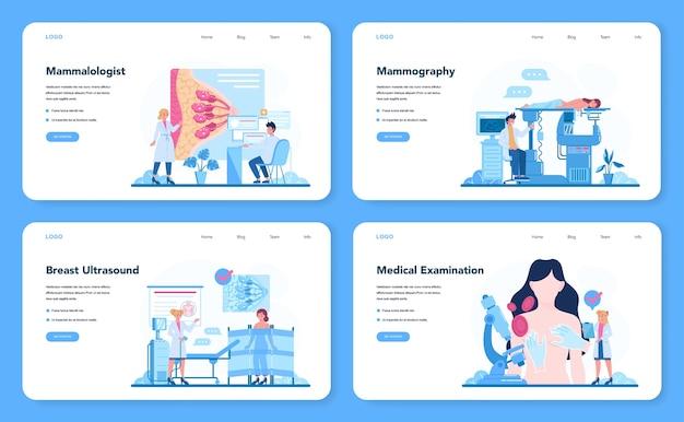 Bannière web de mammologue ou ensemble de pages de destination