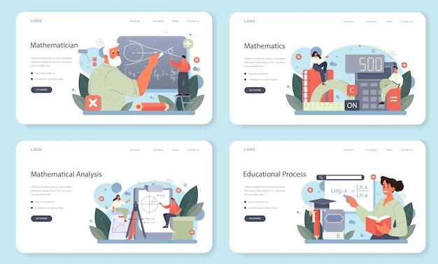Bannière web de mathématicien ou ensemble de pages de destination. chercheur de mathématicien