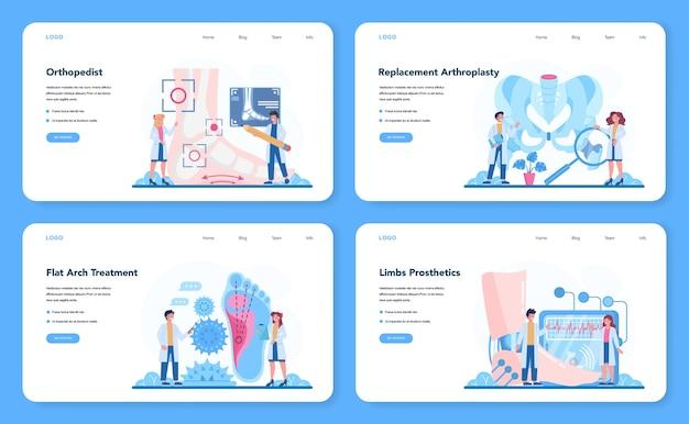 Bannière web de médecin orthopédique ou ensemble de pages de destination