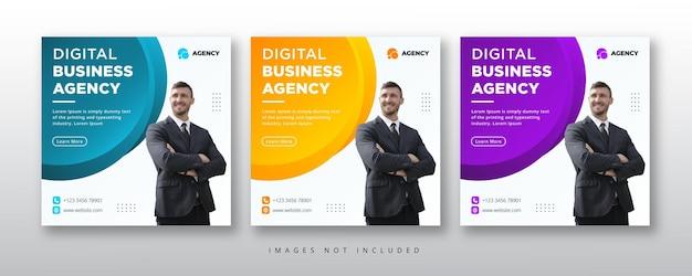 Bannière web et médias sociaux de l'agence de marketing numérique
