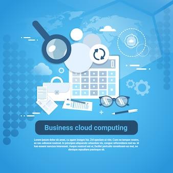 Bannière web de modèle business cloud computing avec espace de copie