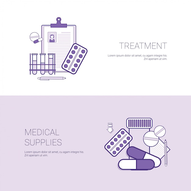 Bannière web de modèle de concept de fournitures médicales et de traitement avec espace de copie