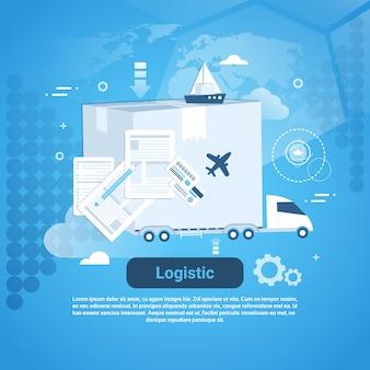 Bannière web de modèle logistique de livraison avec espace de copie