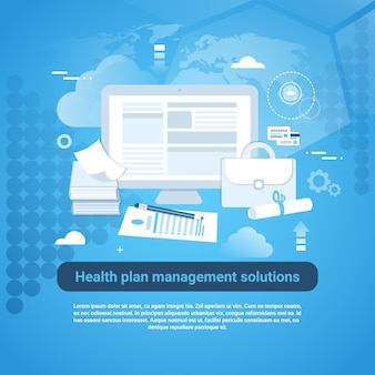 Bannière web de modèle de service de gestion de plans de santé avec espace de copie