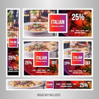 Bannière web de nourriture définie pour le restaurant