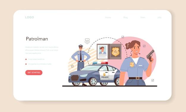 Bannière web d'officier de police ou détective de la page de destination faisant un interrogatoire