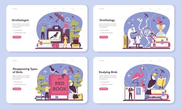Bannière web ornithologue ou ensemble de pages de destination