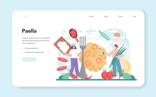 Bannière web paella ou page de destination plat traditionnel espagnol aux fruits de mer