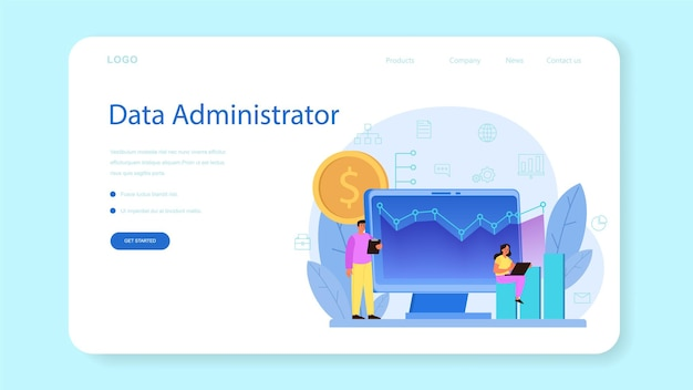 Bannière web ou page de destination de l'administrateur de la base de données