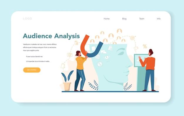 Bannière web ou page de destination d'analyse d'audience.
